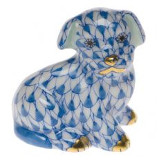 Herend Porcelain Fishnet Figurine of a Miniature Puppy Sitting